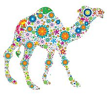 Cute Colorful Retro Floral Camel Photographic Print