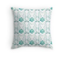 Seahorses in Mint Sea Green Coastal Sealife Aquarium Ocean Marine Wildlife Throw Pillow