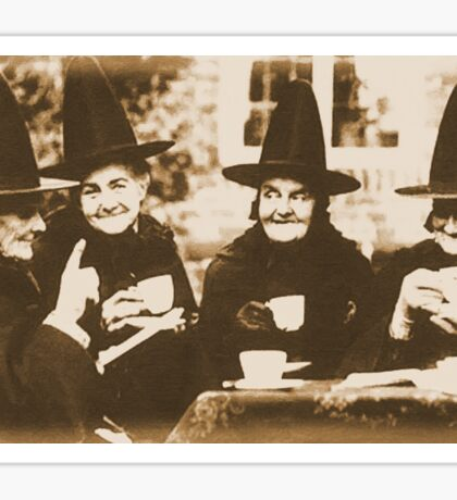 Witches Tea Party - sepia Sticker