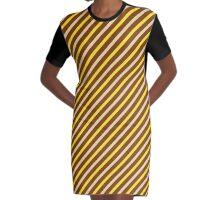 Stripes Diagonal Chocolate Brown Banana Yellow Toffee Cream Graphic T-Shirt Dress