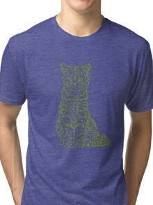 Tabby Cat in Jungle Color Tri-blend T-Shirt