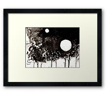 Surrealist Charcoal Landscape Framed Print