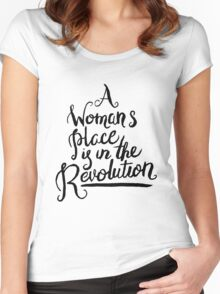 A WOMAN'S PLACE IS IN THE REVOLUTION Women's Fitted Scoop T-Shirt