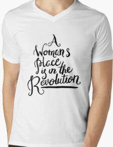 A WOMAN'S PLACE IS IN THE REVOLUTION Mens V-Neck T-Shirt