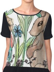 Rabbit Surrounded by Flowers Chiffon Top