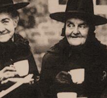 Witches Tea Party - old black/white Sticker
