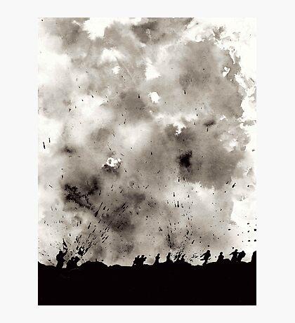 World War Ink Drawing Photographic Print