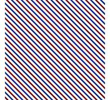 Stripes Diagonal Carmine Red Cobalt Blue Simple Modern Photographic Print