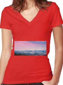 View of Brisbane City from Mount Coot-tha Women's Fitted V-Neck T-Shirt