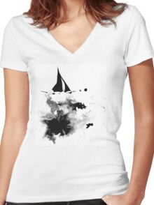 Ink Sailboat Women's Fitted V-Neck T-Shirt