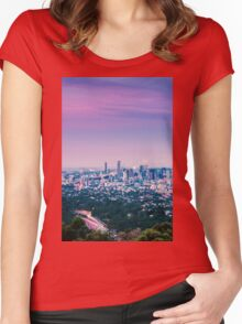 View of Brisbane City from Mount Coot-tha Women's Fitted Scoop T-Shirt