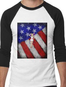 Fourth of July Lady Men's Baseball ¾ T-Shirt