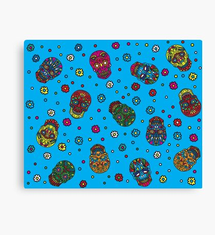 Bright mexican floral skull Canvas Print