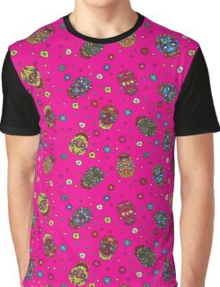 Bright mexican floral skull. Day of the dead seamless pattern. Trendy style Graphic T-Shirt