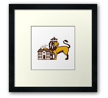 King Lion Paw on House Isolated Retro Framed Print