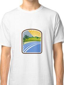 Tropical Trees Mountains Sea Coast Rectangle Retro Classic T-Shirt