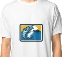 Wahoo Fish Jumping Fishing Boat Square Retro Classic T-Shirt