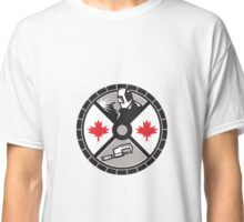 Welder Caliper Maple Leaf Circle Retro Classic T-Shirt