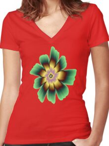 Gold and Green Daisy Flower on Pink Women's Fitted V-Neck T-Shirt