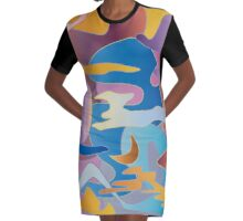 Abstract Colorful Sky Tones Dawn Sunset Daylight Evening Graphic T-Shirt Dress