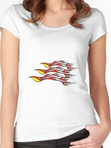 Feuer flammen formation cool  Women's Fitted Scoop T-Shirt