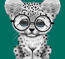 Cute Snow Leopard Cub Wearing Glasses on Teal Blue by Jeff Bartels
