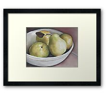 Pears in Bowl Framed Print