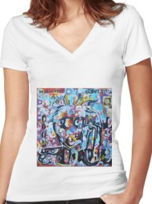 DISLOCATED,  but  still COOL (My head exploded) Women's Fitted V-Neck T-Shirt