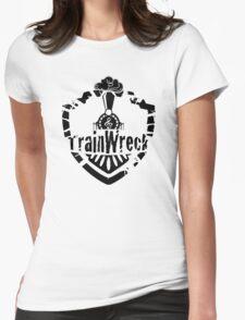 TrainWreck Full Logo - Black on White Womens Fitted T-Shirt