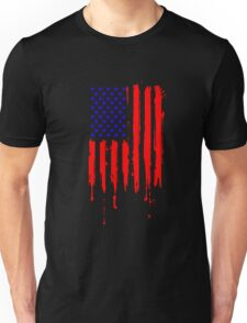 Dripping Blue Red American Flag Unisex T-Shirt