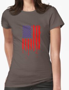 Dripping Blue Red American Flag Womens Fitted T-Shirt