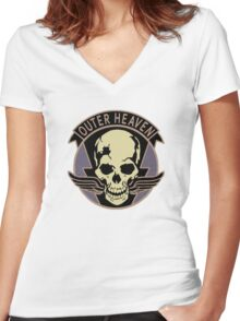 Metal Gear Solid V - Outer Heaven (Black) Women's Fitted V-Neck T-Shirt