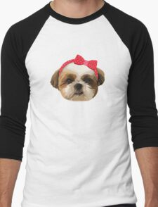 Shitzhu Dog with Headband Men's Baseball ¾ T-Shirt