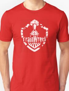 TrainWreck Full Logo White on Black Unisex T-Shirt