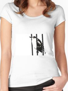 Little Sparrow bird perched on sky high cables Women's Fitted Scoop T-Shirt