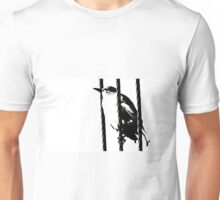 Little Sparrow bird perched on sky high cables Unisex T-Shirt