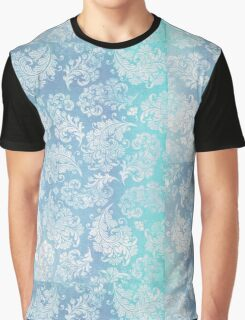 Ice Blue Feather Leaves Frosted  Graphic T-Shirt