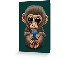 Cute Baby Monkey Holding a Blue Cell Phone  Greeting Card