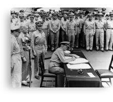 Admiral Nimitz Signing The Japanese Surrender  Canvas Print