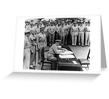 Admiral Nimitz Signing The Japanese Surrender  Greeting Card