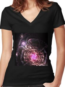 Center of the Universe - Abstract Fractal Artwork Women's Fitted V-Neck T-Shirt