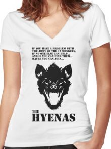 Join the Hyenas (black) Women's Fitted V-Neck T-Shirt