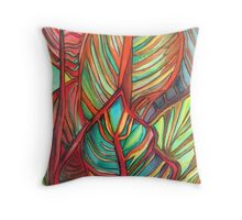 Canna leaves tropical art Throw Pillow