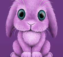 Cute Purple Baby Bunny Rabbit  by Jeff Bartels