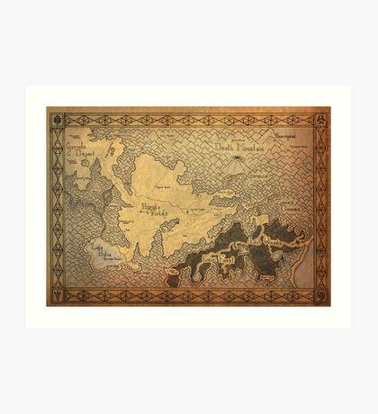 Zelda - A map of Hyrule Art Print