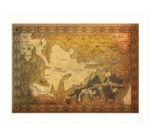 Zelda - Map of Hyrule burned details Art Print