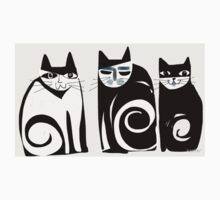Black and white Cats One Piece - Short Sleeve