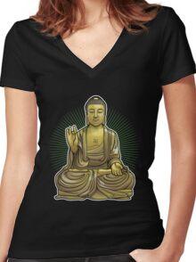 Buddha Statue Women's Fitted V-Neck T-Shirt