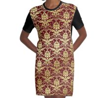 Damask Glitter Gold Classic Elegant Rosewood Graphic T-Shirt Dress