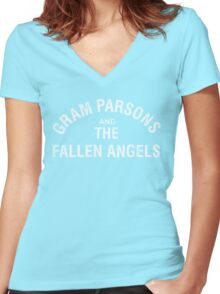 Gram Parsons and the Fallen Angels (white - distressed) Women's Fitted V-Neck T-Shirt